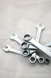Wrenches. A set of wrenches against white background royalty free stock photo