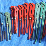 Wrenches. Adjustable Wrenches in Various Sizes and Color Stock Photo