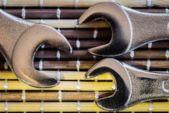 Wrenches. On bamboo mat close up Stock Photography