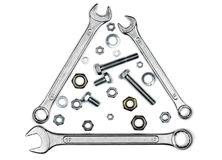 Wrenches, bolts, nuts, and washers Stock Image
