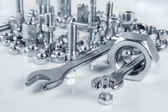 Wrenches bolts and nuts Royalty Free Stock Photo