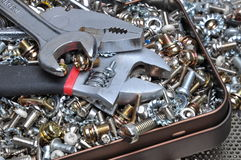 Wrenches and components bolts, nuts, washers, screws Stock Photo