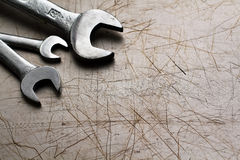 Wrenches. On a metal background Stock Images