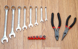 Wrenches, pliers and bolt heads Stock Photos