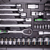 Wrenches and screwdrivers in the tool box Royalty Free Stock Photography