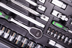 Wrenches and screwdrivers in the tool box Stock Image