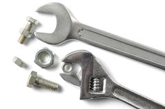 Wrenches and Screws. Set of wrenches and screws isolated on white background Stock Photo