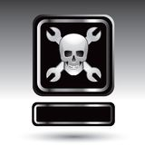 Wrenches and skull on nameplate banner Royalty Free Stock Images