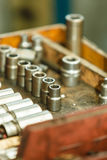 Wrenches sockets and screws. Mechanical automotive fixing engineering industry concept. Wrenches sockets and screws. Hand tools and metal joints Stock Photo