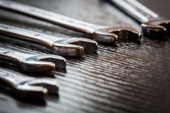 Wrenches. On table close up Royalty Free Stock Photography