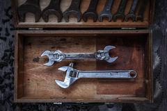 Wrenches. Universal size wrench vs old wrenches Stock Photos
