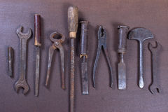 Wrenchs, различные инструменты на предпосылке Стоковая Фотография