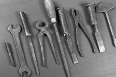 Wrenchs, различные инструменты на предпосылке Стоковое Изображение