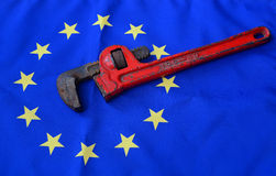 Wrenchs with european flag. The wrenchs with european flag Stock Images