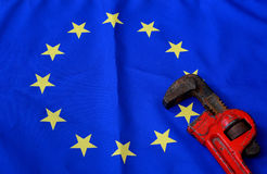 Wrenchs with european flag. The wrenchs with european flag Royalty Free Stock Photo