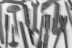 Wrenchs,various tools on background Royalty Free Stock Photo