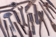 Wrenchs,various tools on wooden background Stock Photography