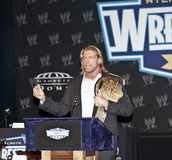 WrestleMania. NEW YORK, NY - MARCH 30: Word Heavyweight Champion Edge attends the WrestleMania XXVII press conference at Hard Rock Cafe New York on March 30 royalty free stock photos