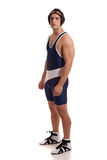 Wrestler. In a blue singlet. Studio shot over white Stock Images