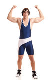 Wrestler. In a blue singlet. Studio shot over white Stock Image