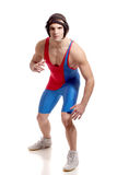 Wrestler. Male wrestler. Studio shot over white Stock Photos