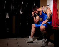 Wrestler. In a locker room Royalty Free Stock Photo