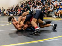 One on one matchup between two grapplers royalty free stock images