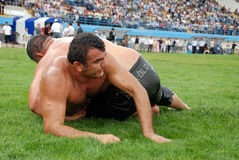 Wrestler competitor in the stadium. Organized by Sincan City hall and supported by Turkey Wrestlers Federation Sincan 1st wrestlers Royalty Free Stock Image