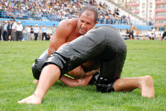 Wrestler competitor in the stadium Stock Photos
