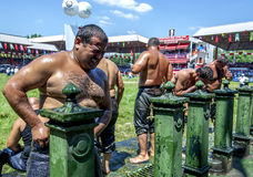 A wrestler grimaces after competing in hot conditions at the Kirkpinar Turkish Oil Wrestling Festival in Edirne in Turkey. Royalty Free Stock Image