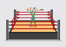 Wrestler Lifts Up Opponent in Wrestling Ring Vector Cartoon Illu Stock Photo