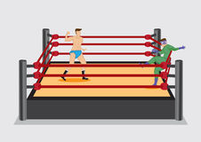 Wrestler Punches Opponent in Wrestling Ring Vector Illustration Royalty Free Stock Photo