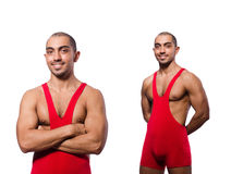 The wrestler in red dress isolated on the white Royalty Free Stock Images