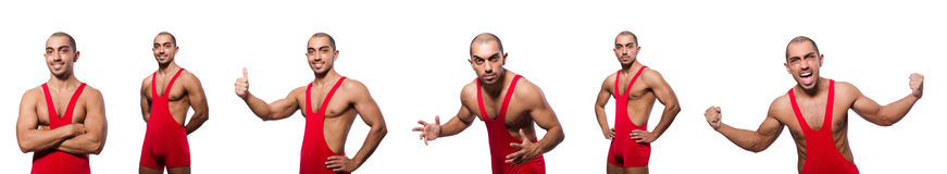 The wrestler in red dress isolated on the white Stock Photos