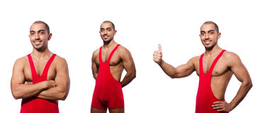 The wrestler in red dress isolated on the white Royalty Free Stock Image