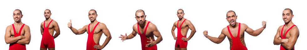 The wrestler in red dress isolated on the white Stock Images