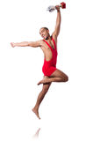 Wrestler in red dress isolated Royalty Free Stock Photography
