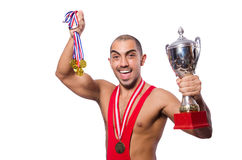 Wrestler in red dress isolated Royalty Free Stock Photos