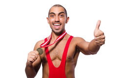 Wrestler in red dress isolated Stock Image