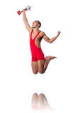 Wrestler in red dress isolated Stock Photography