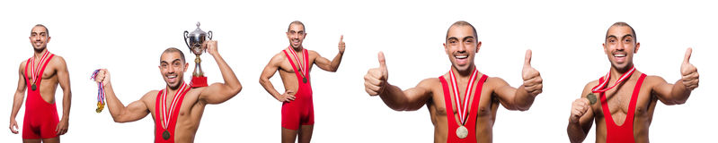 The wrestler in red dress isolated on the white background Stock Image