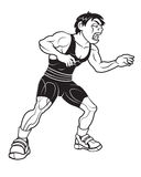 Wrestler. Vector Cartoon of Young Wrestler Royalty Free Stock Images