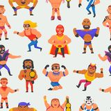 Wrestler vector masked man character and masking luchador in wrestling fight illustration set of wrestle sportsman in. Costume seamless pattern background Royalty Free Stock Image