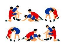 Wrestlers boys wrestling vector illustration isolated on white background. School of defense skills. Greek Roman style of wrestlin. G. Gymnastic discipline Stock Photography