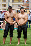 Wrestlers competitor in the stadium. Organized by Sincan City hall and supported by Turkey Wrestlers Federation Sincan 1st wrestlers Stock Image