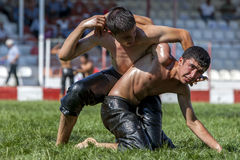 Wrestlers engaged in a close battle during competition at the Elmali Turkish Oil Wrestling Festival in Elmali in Turkey. Stock Photography