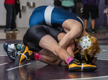 The Wrestlers. Wrestlers face off in championships in Redding, California Royalty Free Stock Images
