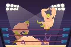 Wrestlers fighting. Sport cartoon mortal background with combat characters luchadors vector mascots royalty free illustration