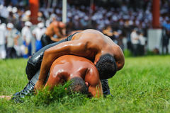 Wrestlers oil wrestling Turkish yagli güres in Kirkpinar Edirne Stock Images