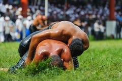 Wrestlers oil wrestling Turkish yagli güres in Kirkpinar Edirne Stock Images